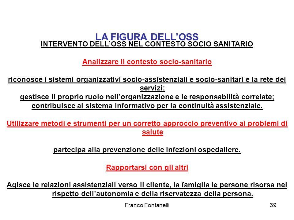 LA FIGURA DELL'OSS INTERVENTO DELL'OSS NEL CONTESTO SOCIO SANITARIO