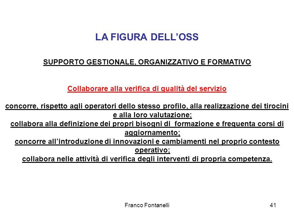 LA FIGURA DELL'OSS SUPPORTO GESTIONALE, ORGANIZZATIVO E FORMATIVO