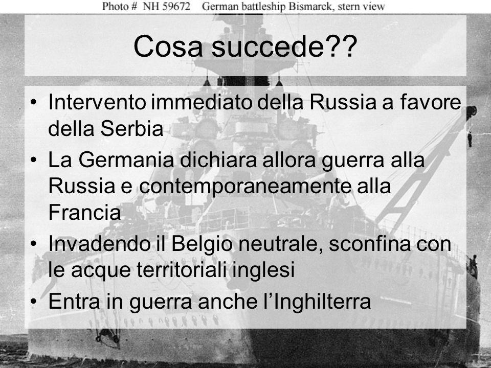 Cosa succede Intervento immediato della Russia a favore della Serbia