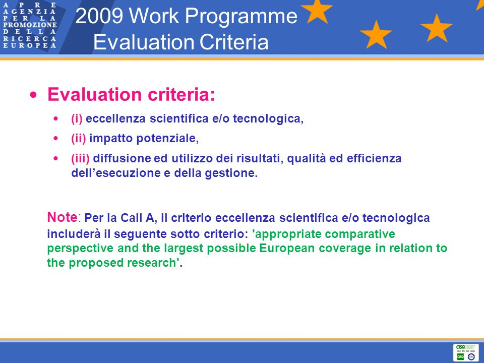 2009 Work Programme Evaluation Criteria