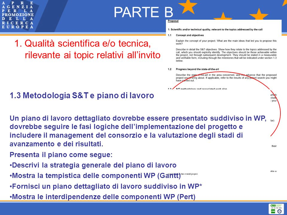 PARTE B 1. Qualità scientifica e/o tecnica, rilevante ai topic relativi all'invito. 1.3 Metodologia S&T e piano di lavoro.