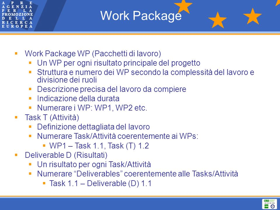 Work Package Work Package WP (Pacchetti di lavoro)‏