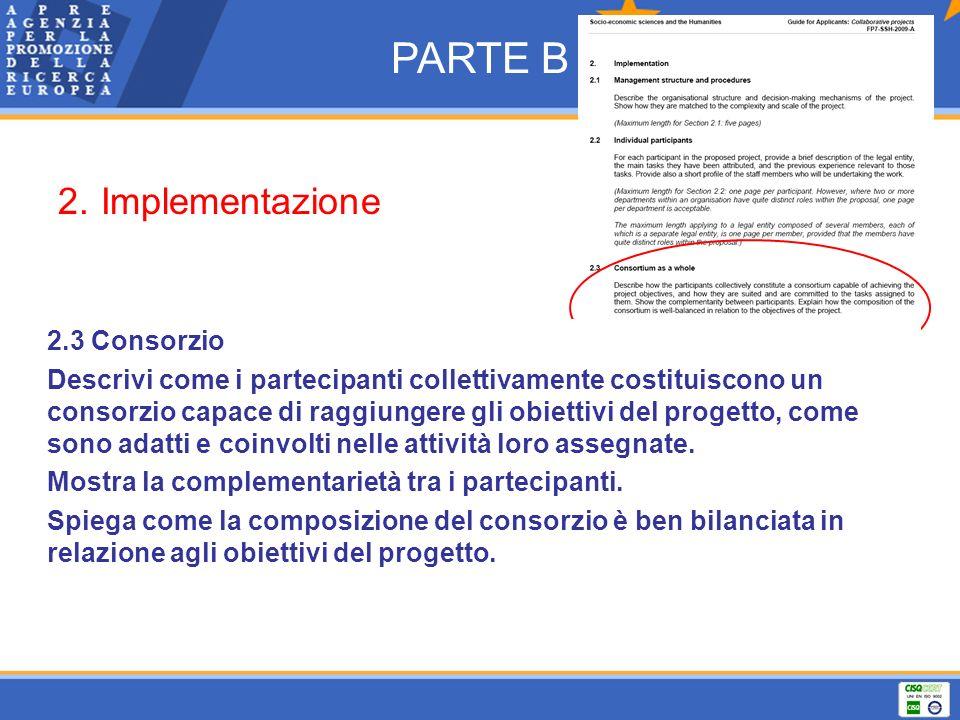 PARTE B 2. Implementazione 2.3 Consorzio
