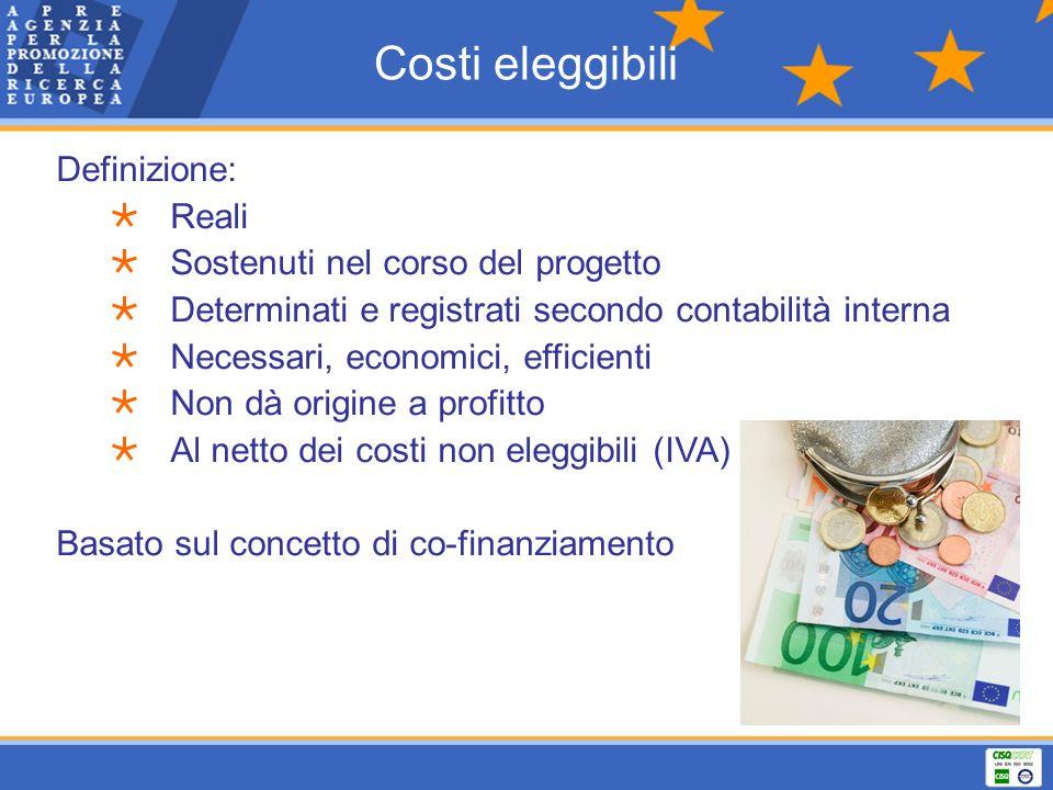 Costi eleggibili Definizione: Reali Sostenuti nel corso del progetto