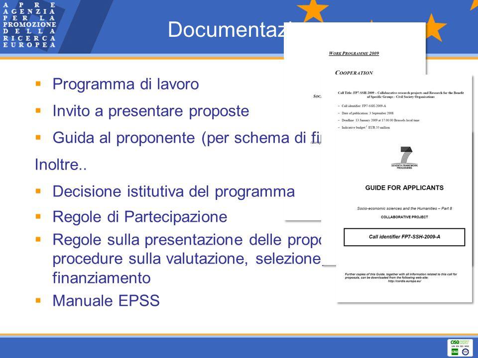 Documentazione Programma di lavoro Invito a presentare proposte