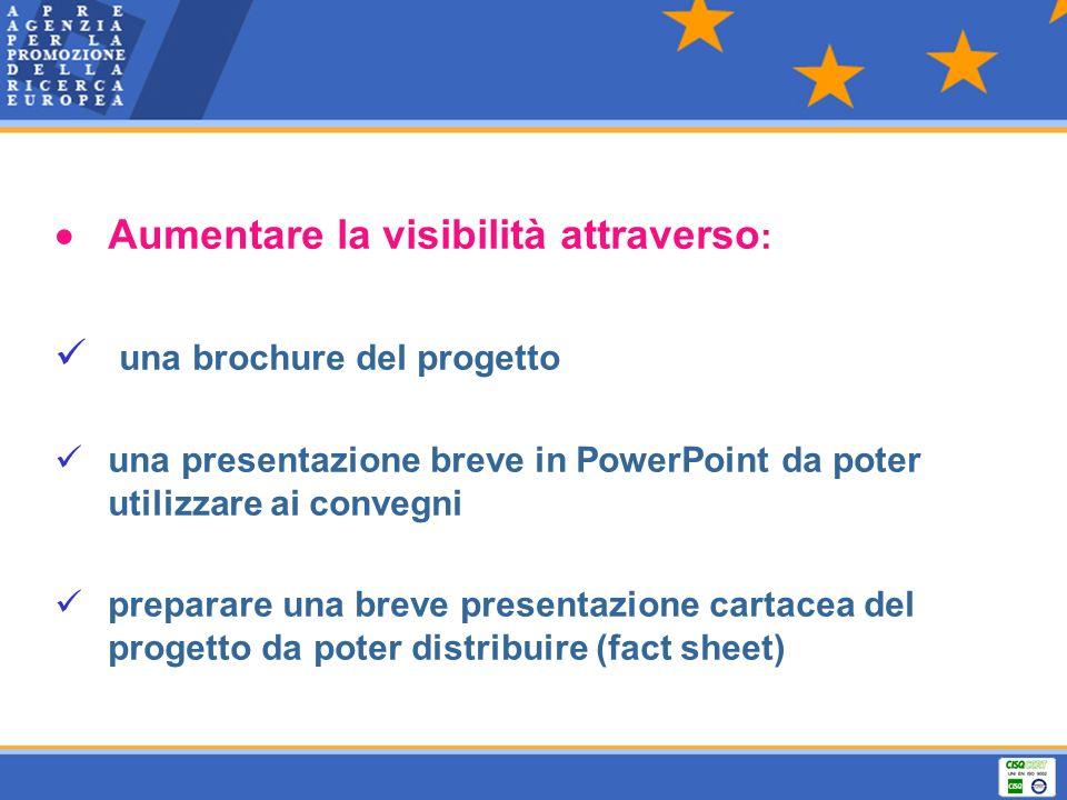  Aumentare la visibilità attraverso: una brochure del progetto