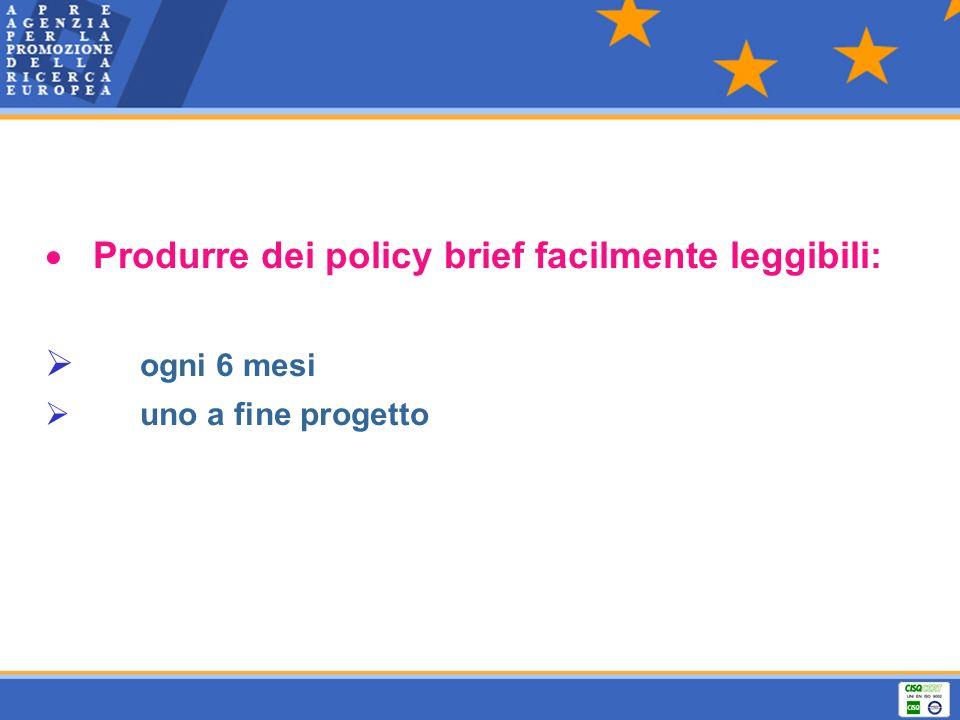 Produrre dei policy brief facilmente leggibili: ogni 6 mesi