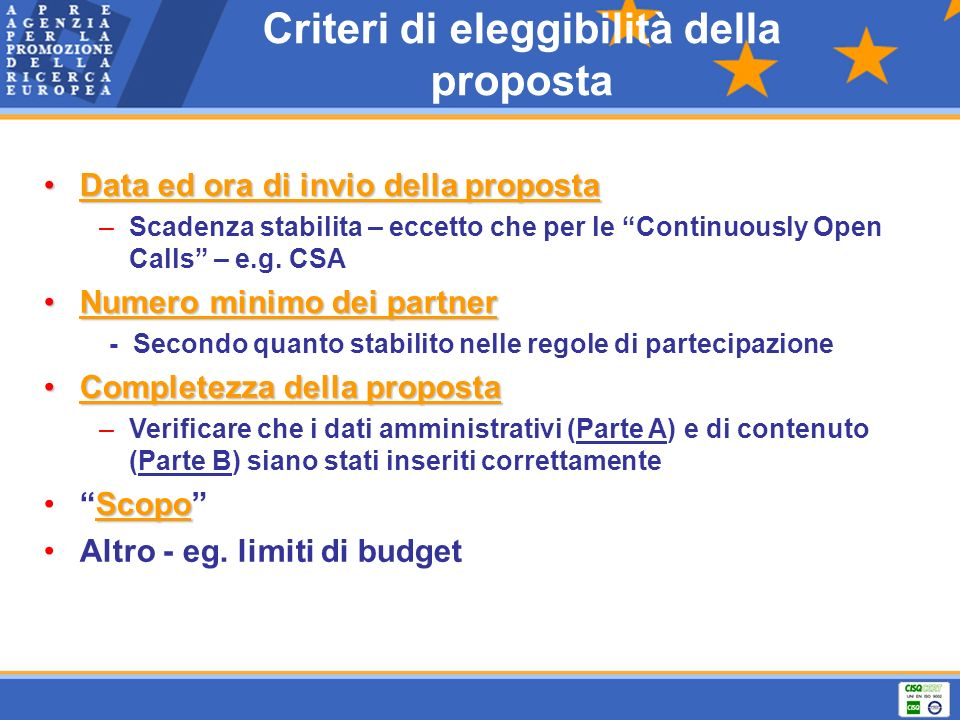 Criteri di eleggibilità della proposta