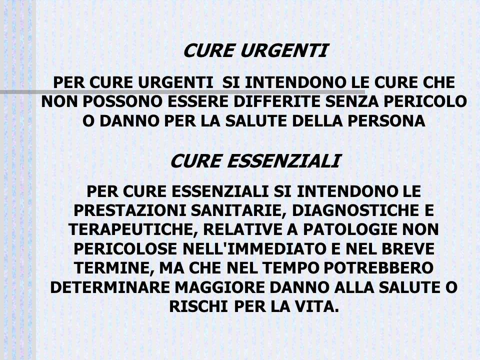 CURE URGENTI CURE ESSENZIALI