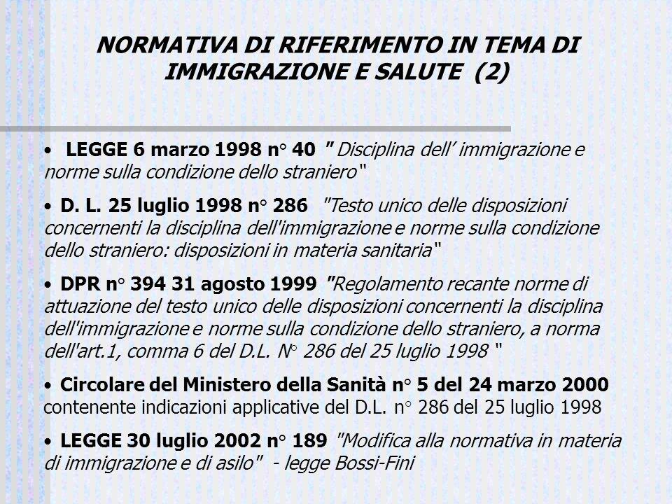 NORMATIVA DI RIFERIMENTO IN TEMA DI IMMIGRAZIONE E SALUTE (2)