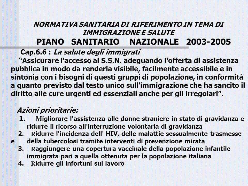 NORMATIVA SANITARIA DI RIFERIMENTO IN TEMA DI IMMIGRAZIONE E SALUTE