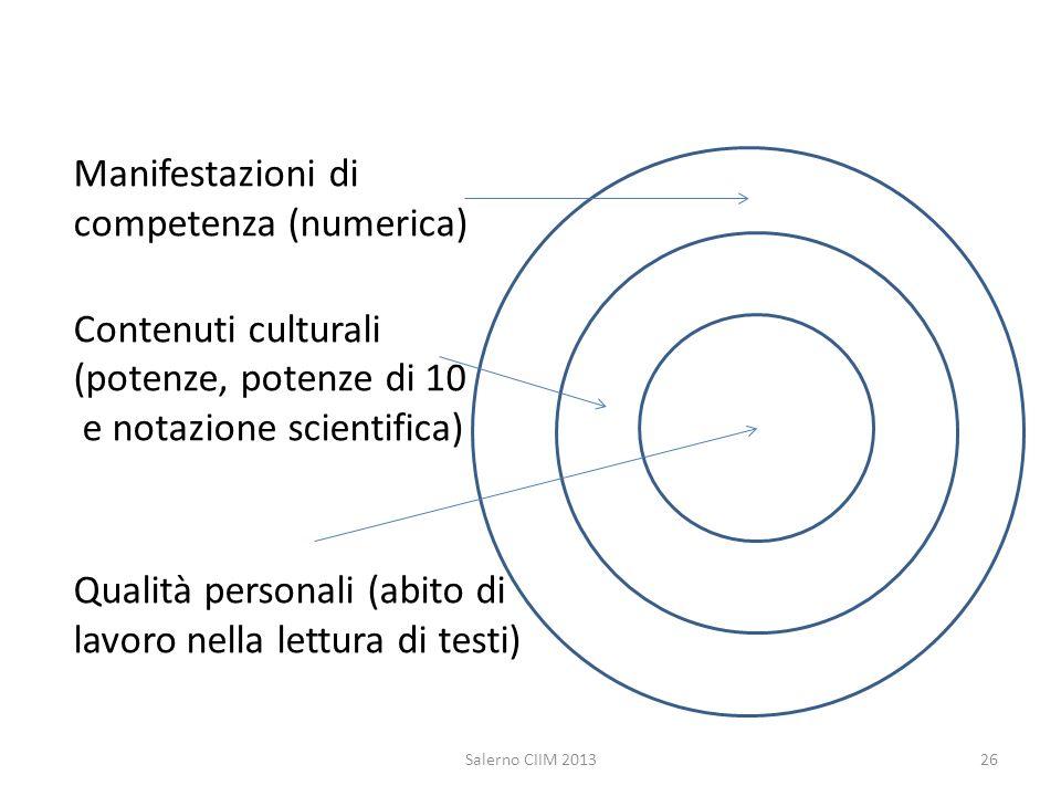 Manifestazioni di competenza (numerica) Contenuti culturali (potenze, potenze di 10 e notazione scientifica) Qualità personali (abito di lavoro nella lettura di testi)