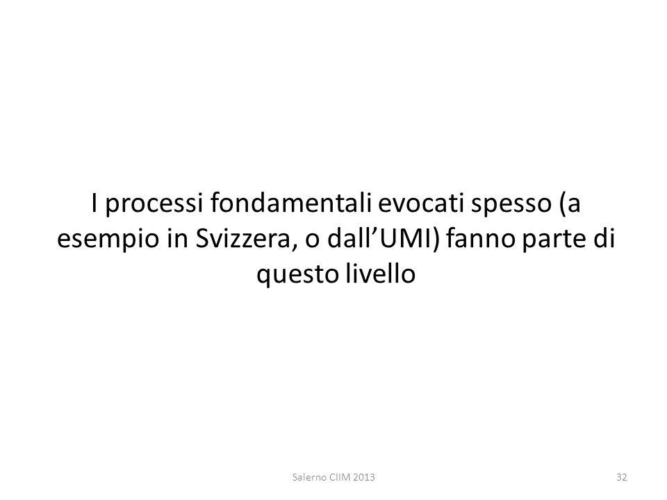 I processi fondamentali evocati spesso (a esempio in Svizzera, o dall'UMI) fanno parte di questo livello