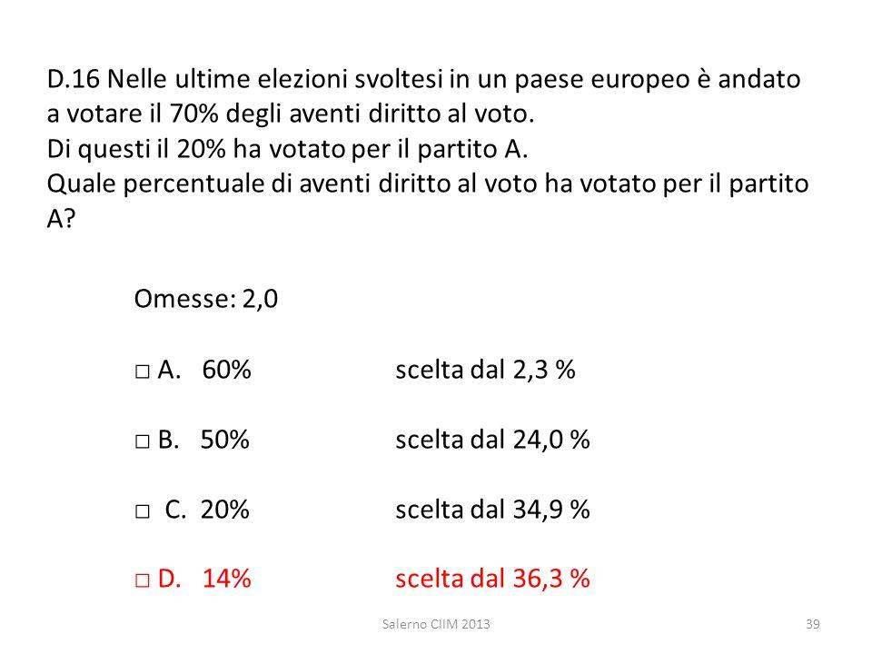 D.16 Nelle ultime elezioni svoltesi in un paese europeo è andato a votare il 70% degli aventi diritto al voto. Di questi il 20% ha votato per il partito A. Quale percentuale di aventi diritto al voto ha votato per il partito A Omesse: 2,0 □ A. 60% scelta dal 2,3 % □ B. 50% scelta dal 24,0 % □ C. 20% scelta dal 34,9 % □ D. 14% scelta dal 36,3 %