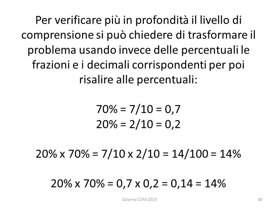 Per verificare più in profondità il livello di comprensione si può chiedere di trasformare il problema usando invece delle percentuali le frazioni e i decimali corrispondenti per poi risalire alle percentuali: 70% = 7/10 = 0,7 20% = 2/10 = 0,2 20% x 70% = 7/10 x 2/10 = 14/100 = 14% 20% x 70% = 0,7 x 0,2 = 0,14 = 14%