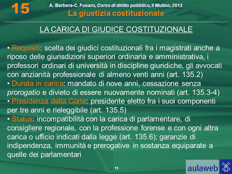 LA CARICA DI GIUDICE COSTITUZIONALE