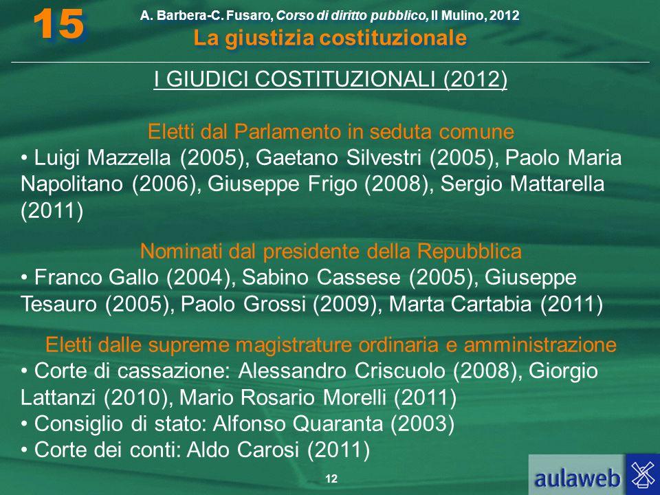 15 I GIUDICI COSTITUZIONALI (2012)
