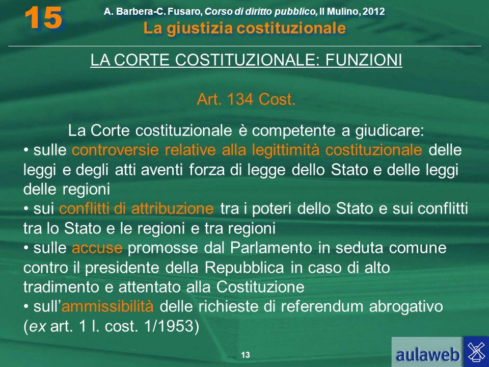 15 LA CORTE COSTITUZIONALE: FUNZIONI Art. 134 Cost.