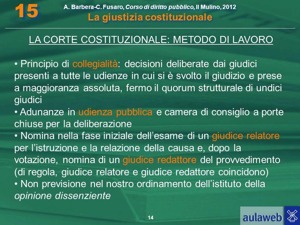 LA CORTE COSTITUZIONALE: METODO DI LAVORO