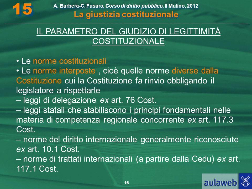 IL PARAMETRO DEL GIUDIZIO DI LEGITTIMITÀ COSTITUZIONALE