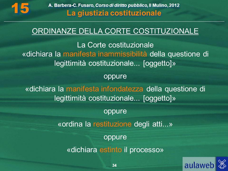 15 ORDINANZE DELLA CORTE COSTITUZIONALE La Corte costituzionale