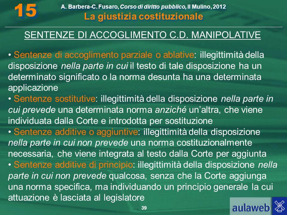 SENTENZE DI ACCOGLIMENTO C.D. MANIPOLATIVE