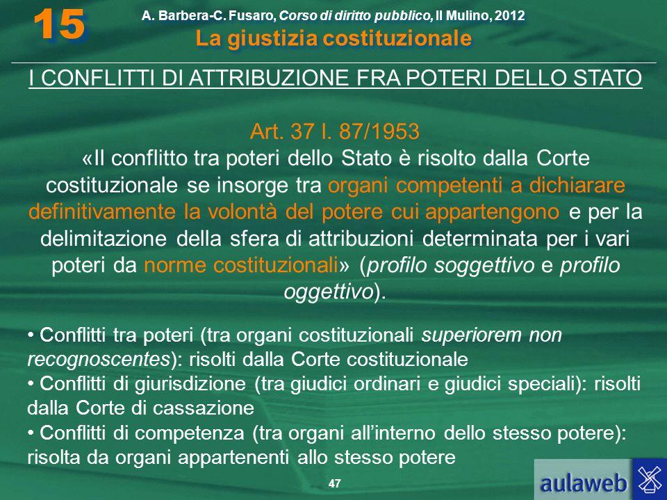 I CONFLITTI DI ATTRIBUZIONE FRA POTERI DELLO STATO