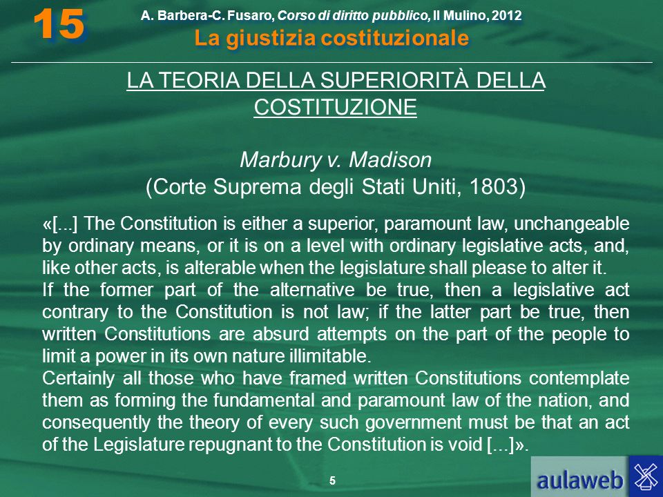15 LA TEORIA DELLA SUPERIORITÀ DELLA COSTITUZIONE Marbury v. Madison