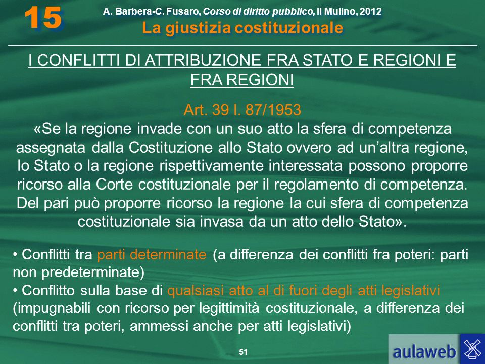 I CONFLITTI DI ATTRIBUZIONE FRA STATO E REGIONI E FRA REGIONI