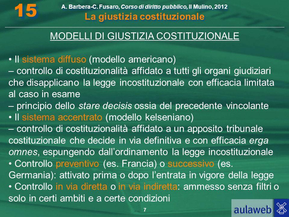 MODELLI DI GIUSTIZIA COSTITUZIONALE