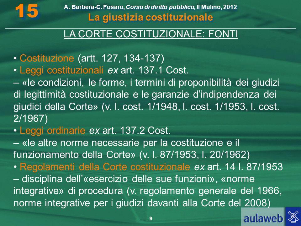 LA CORTE COSTITUZIONALE: FONTI