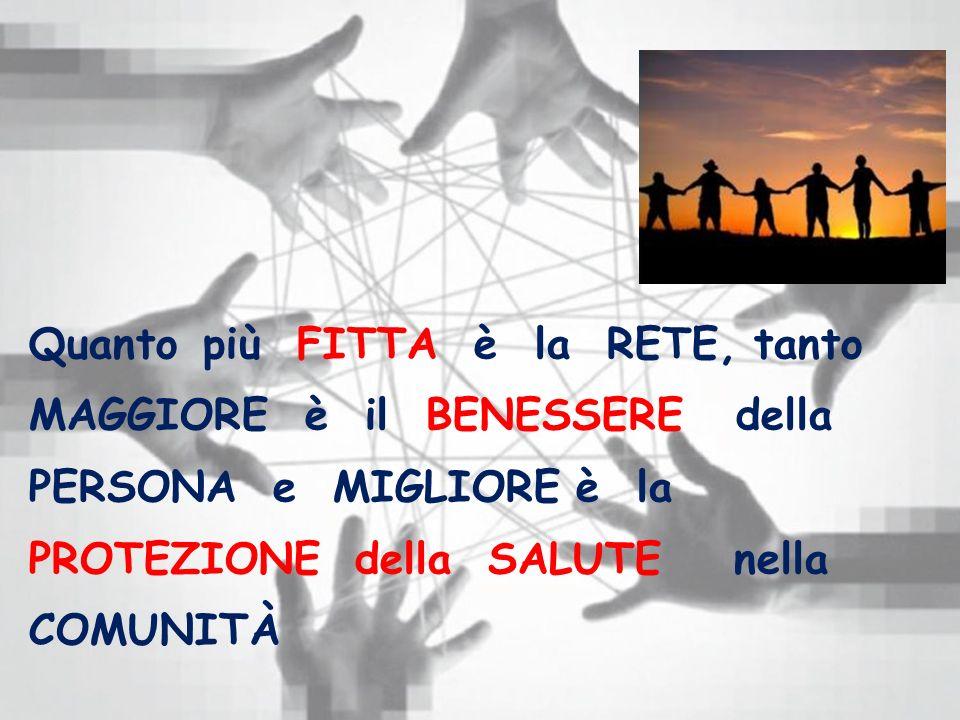 Quanto più FITTA è la RETE, tanto MAGGIORE è il BENESSERE della PERSONA e MIGLIORE è la PROTEZIONE della SALUTE nella COMUNITÀ