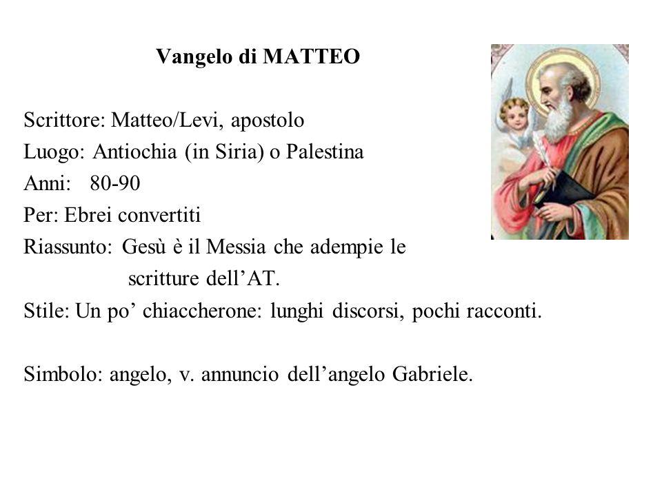 Vangelo di MATTEOScrittore: Matteo/Levi, apostolo. Luogo: Antiochia (in Siria) o Palestina. Anni: 80-90.