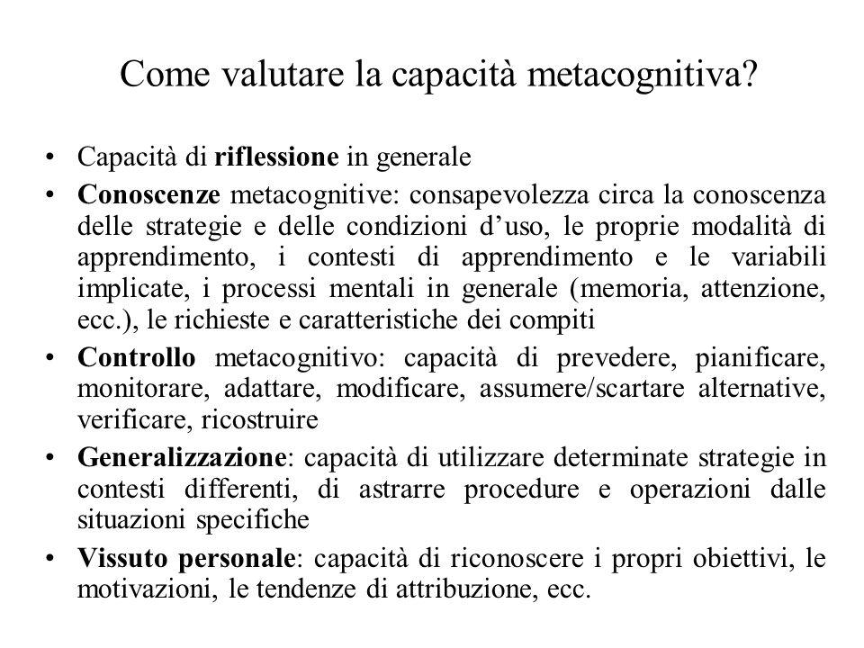 Come valutare la capacità metacognitiva