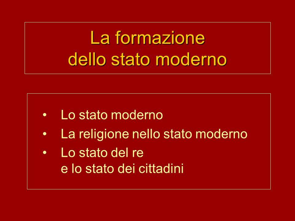 La formazione dello stato moderno