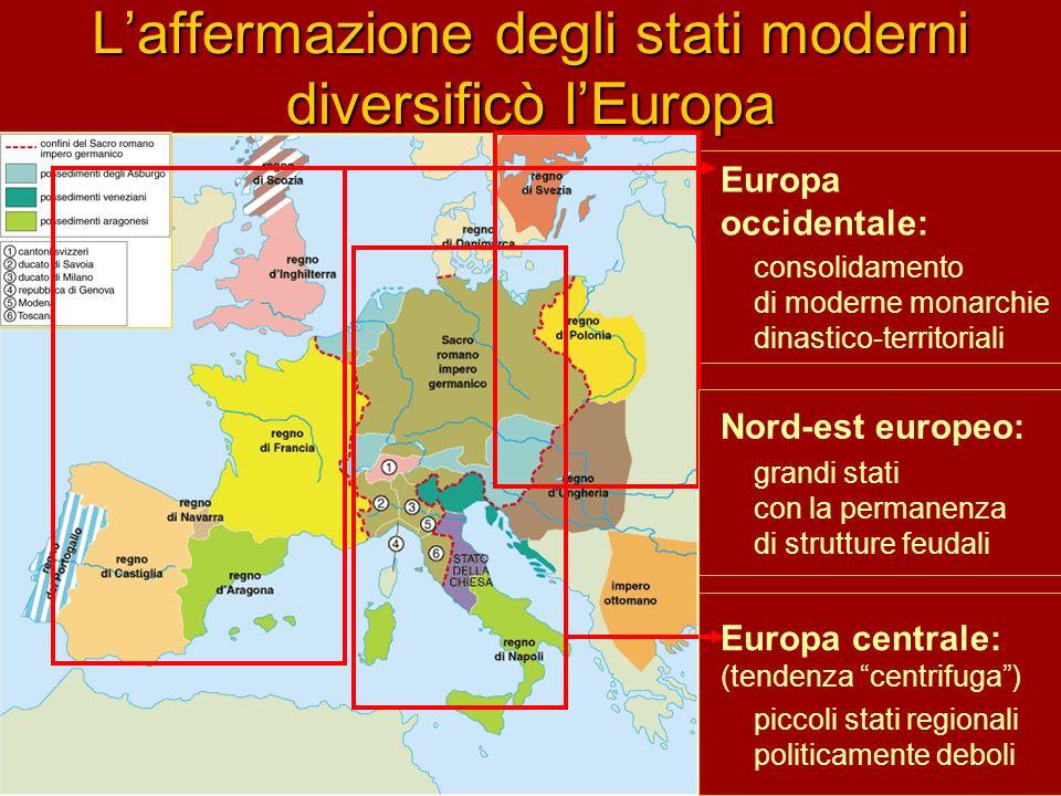 L'affermazione degli stati moderni diversificò l'Europa