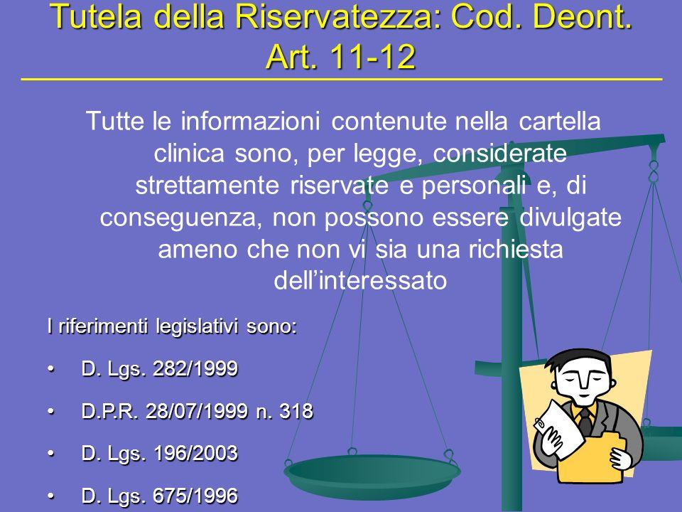 Tutela della Riservatezza: Cod. Deont. Art. 11-12