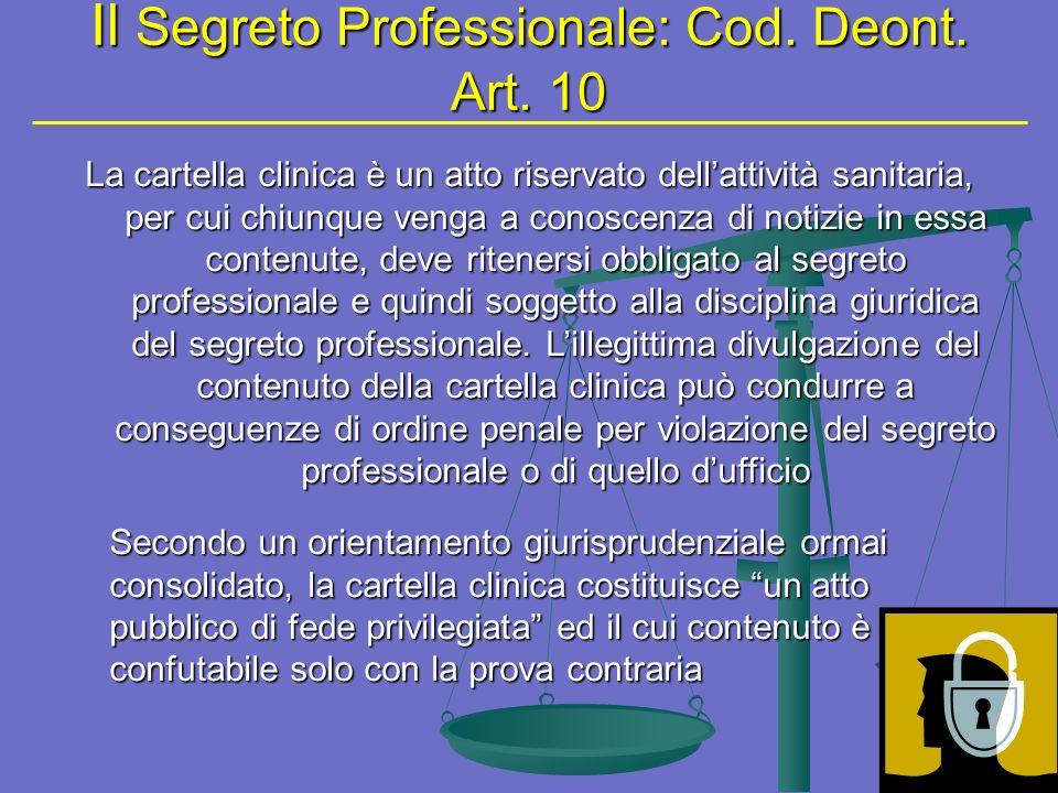 Il Segreto Professionale: Cod. Deont. Art. 10