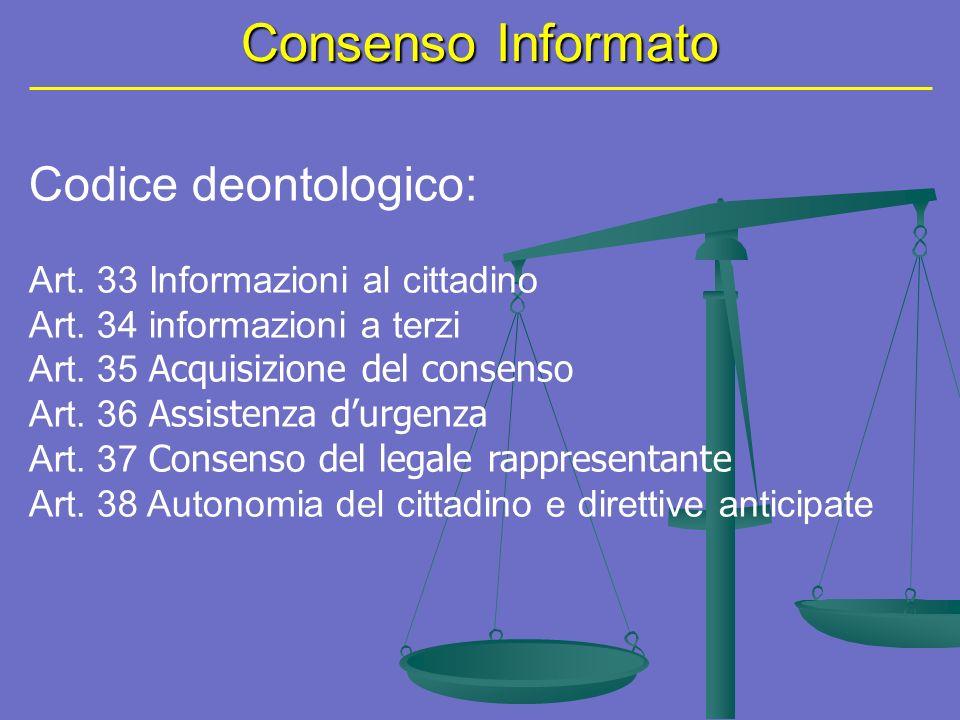 Consenso Informato Codice deontologico: