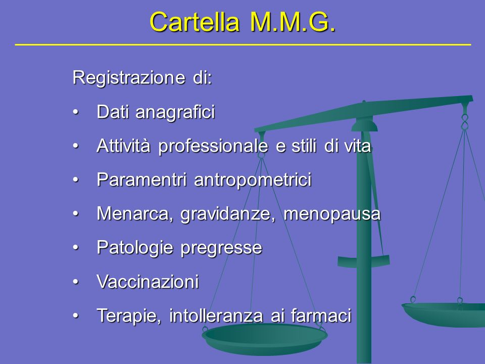 Cartella M.M.G. Registrazione di: Dati anagrafici