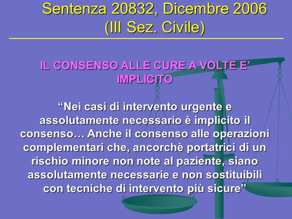 Sentenza 20832, Dicembre 2006 (III Sez. Civile)