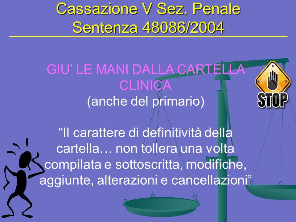 Cassazione V Sez. Penale Sentenza 48086/2004