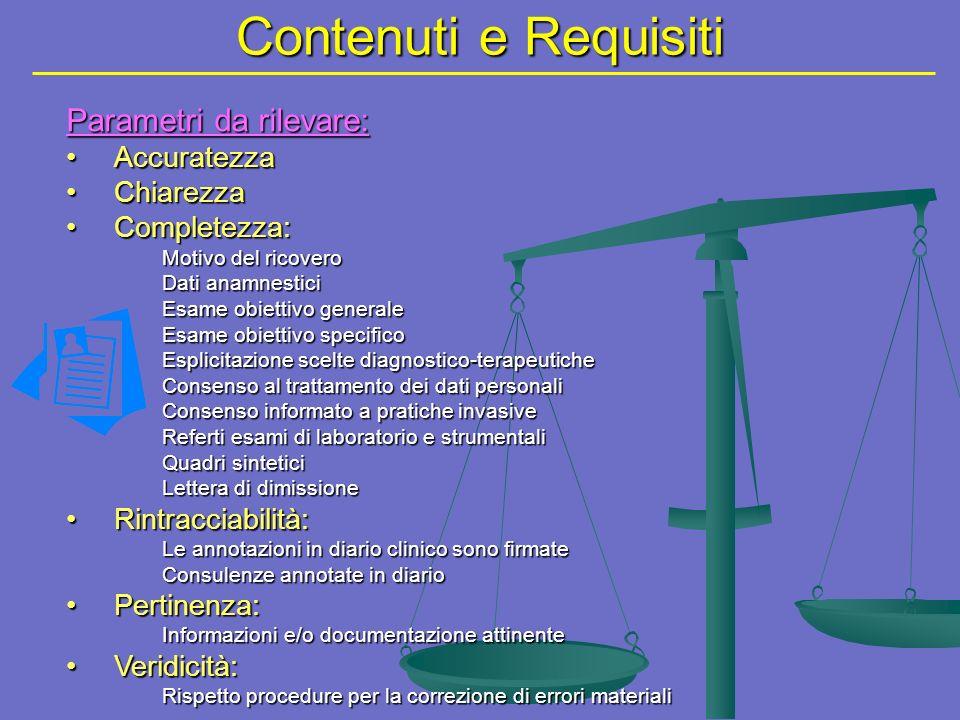 Contenuti e Requisiti Parametri da rilevare: Accuratezza Chiarezza
