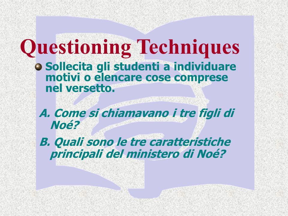 Sollecita gli studenti a individuare motivi o elencare cose comprese nel versetto.