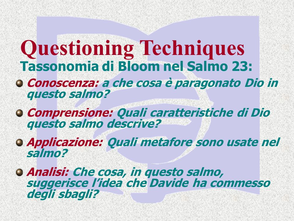 Tassonomia di Bloom nel Salmo 23: