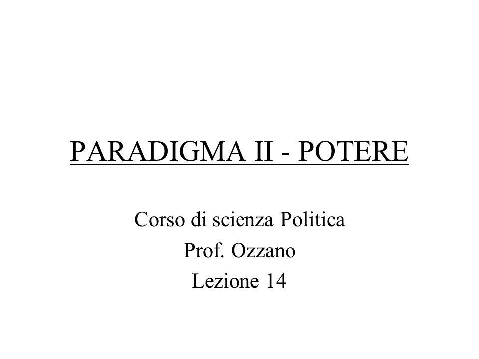 Corso di scienza Politica Prof. Ozzano Lezione 14
