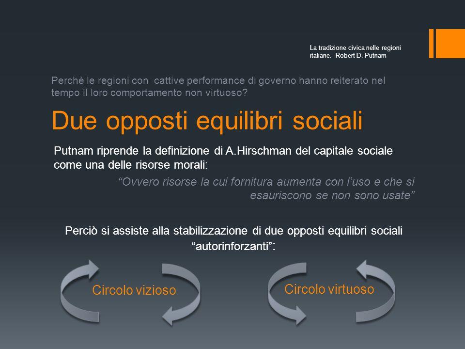 Due opposti equilibri sociali