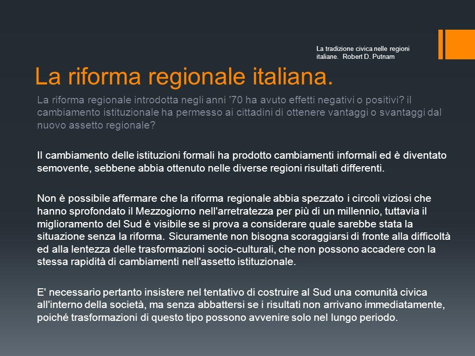 La riforma regionale italiana.