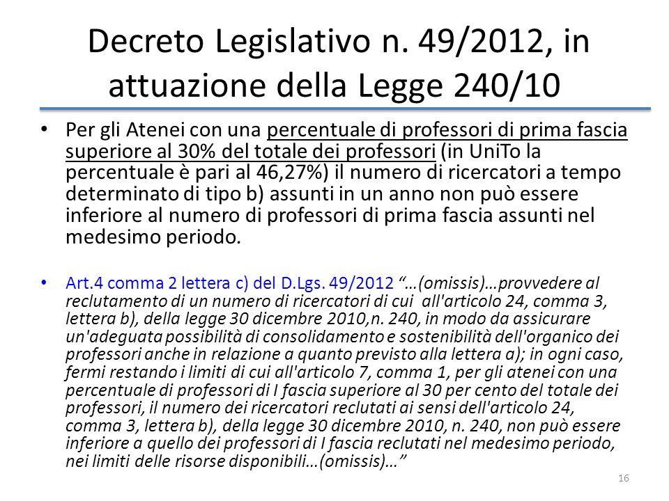 Decreto Legislativo n. 49/2012, in attuazione della Legge 240/10