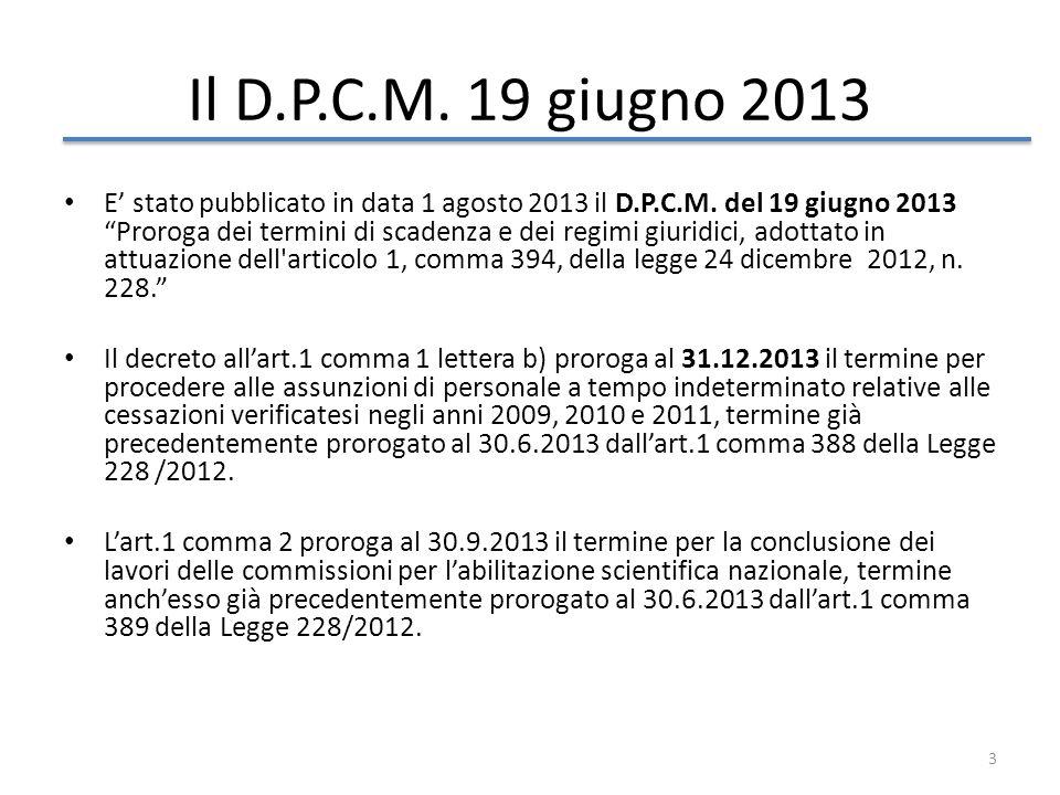 Il D.P.C.M. 19 giugno 2013